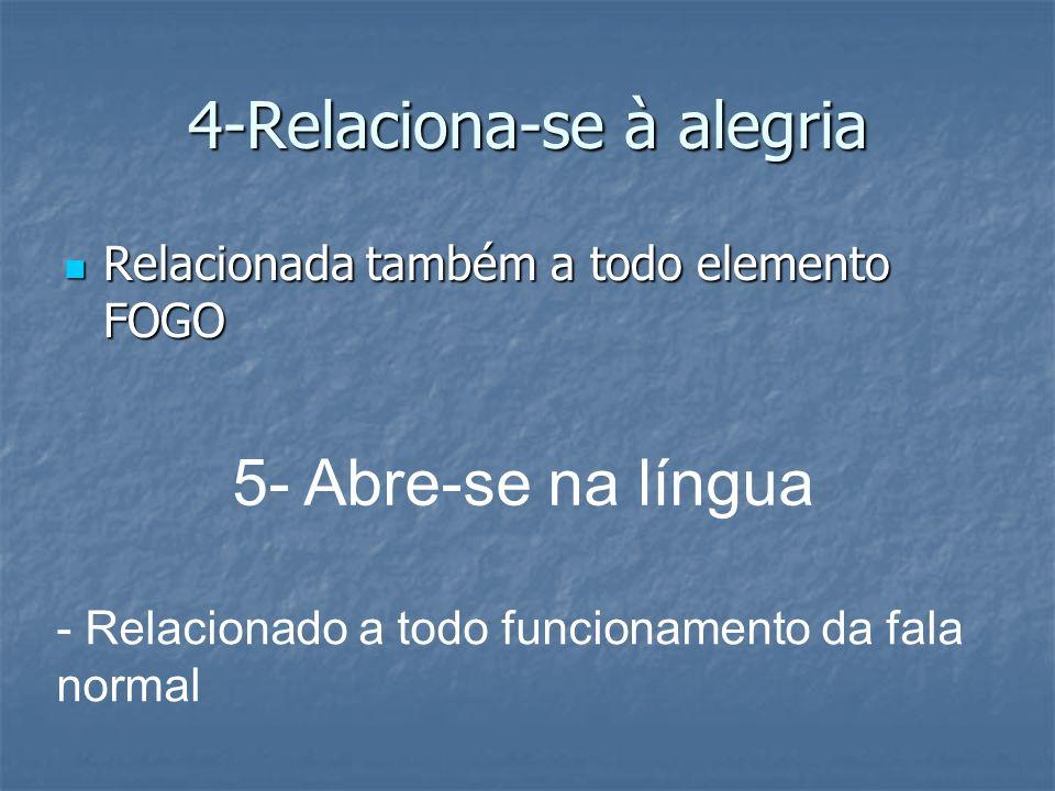 4-Relaciona-se à alegria Relacionada também a todo elemento FOGO Relacionada também a todo elemento FOGO 5- Abre-se na língua - Relacionado a todo fun