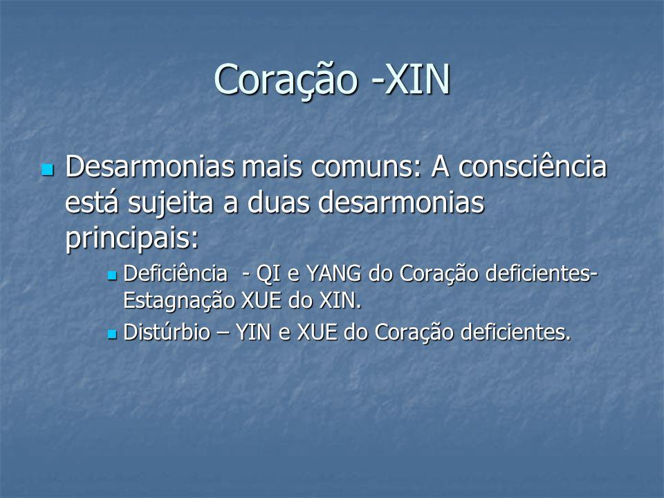 Coração -XIN Desarmonias mais comuns: A consciência está sujeita a duas desarmonias principais: Desarmonias mais comuns: A consciência está sujeita a