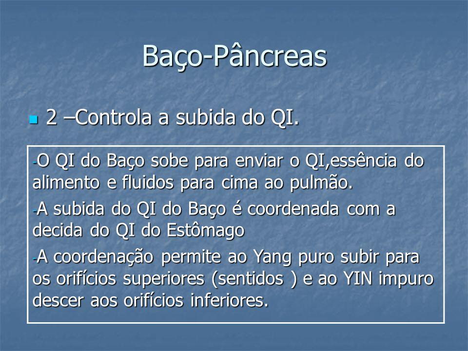 Baço-Pâncreas 2 –Controla a subida do QI. 2 –Controla a subida do QI. - O QI do Baço sobe para enviar o QI,essência do alimento e fluidos para cima ao