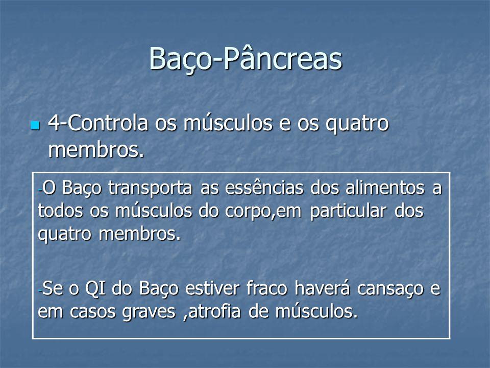 Baço-Pâncreas 4-Controla os músculos e os quatro membros. 4-Controla os músculos e os quatro membros. - O Baço transporta as essências dos alimentos a