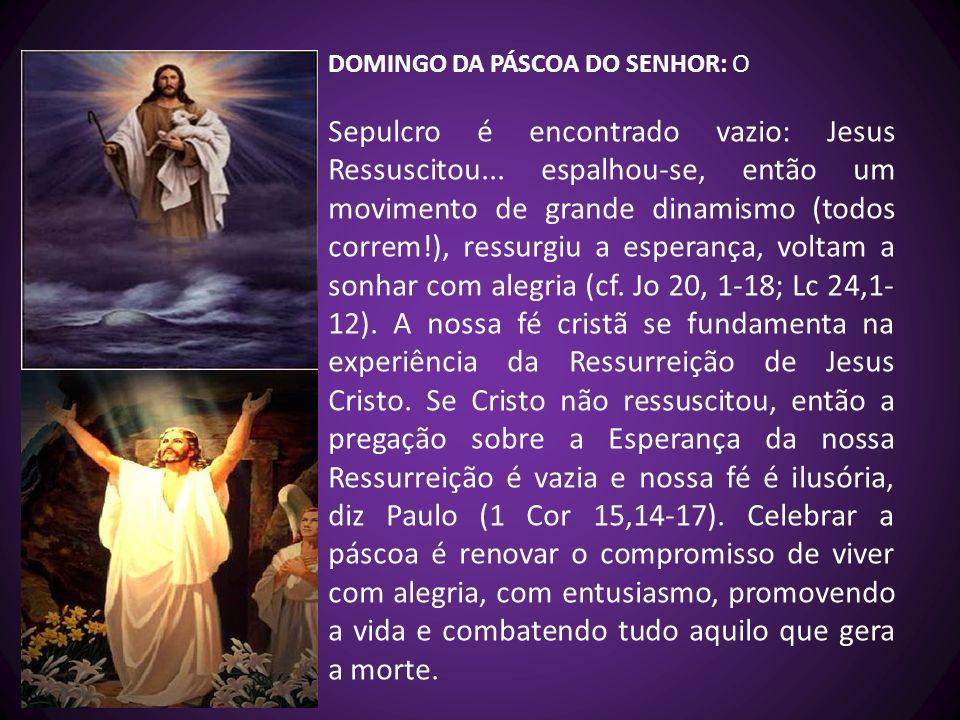 DOMINGO DA PÁSCOA DO SENHOR: O Sepulcro é encontrado vazio: Jesus Ressuscitou... espalhou-se, então um movimento de grande dinamismo (todos correm!),