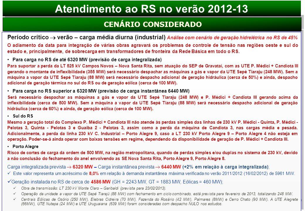 3 Período crítico verão – carga média diurna (industrial) Análise com cenário de geração hidrelétrica no RS de 45% O adiamento da data para integração