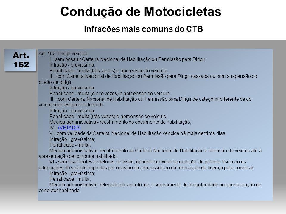 Condução de Motocicletas Infrações mais comuns do CTB Art.