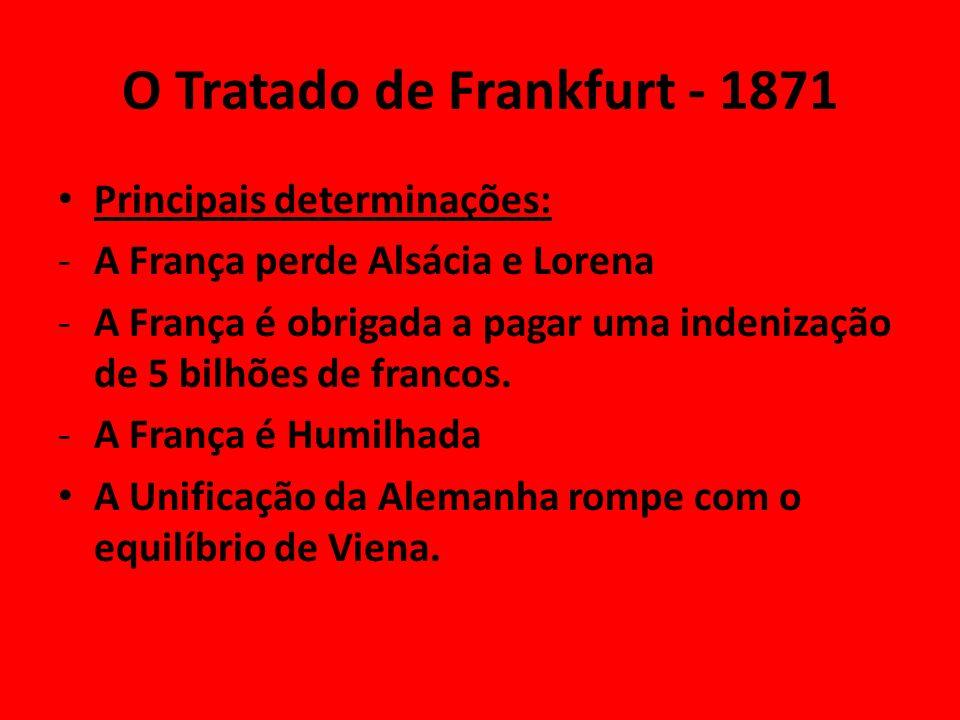 O Tratado de Frankfurt - 1871 Principais determinações: -A França perde Alsácia e Lorena -A França é obrigada a pagar uma indenização de 5 bilhões de