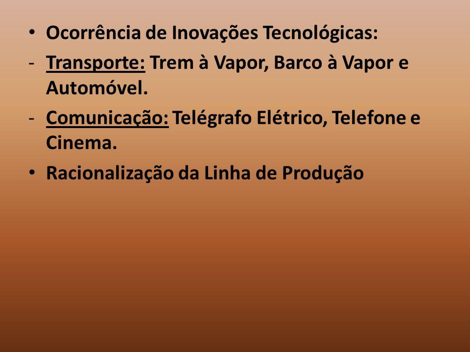 Ocorrência de Inovações Tecnológicas: -Transporte: Trem à Vapor, Barco à Vapor e Automóvel. -Comunicação: Telégrafo Elétrico, Telefone e Cinema. Racio