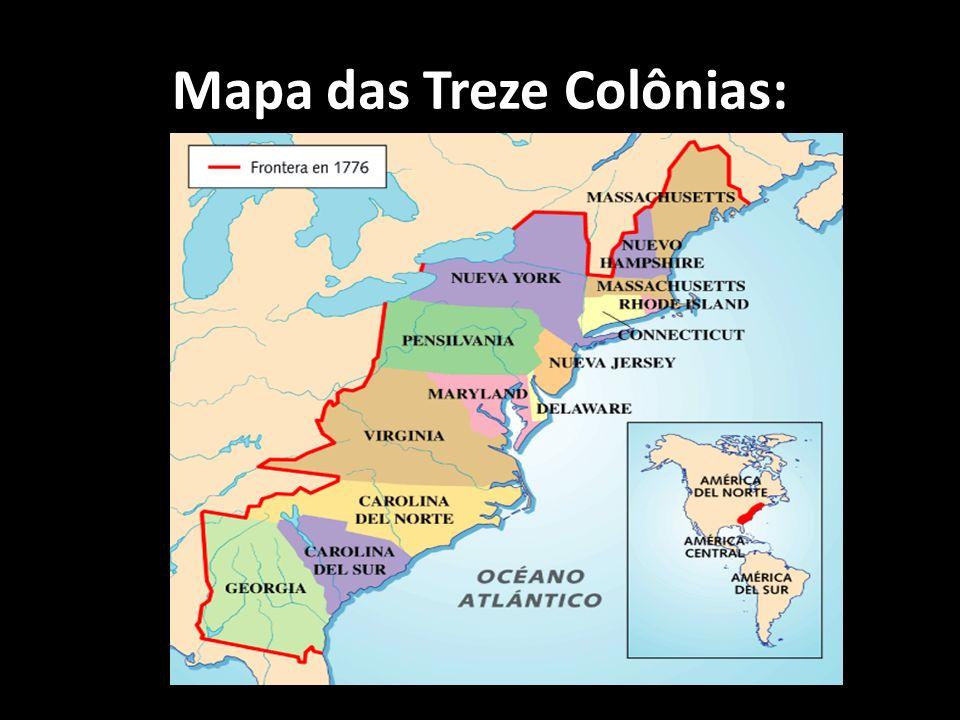 Mapa das Treze Colônias: