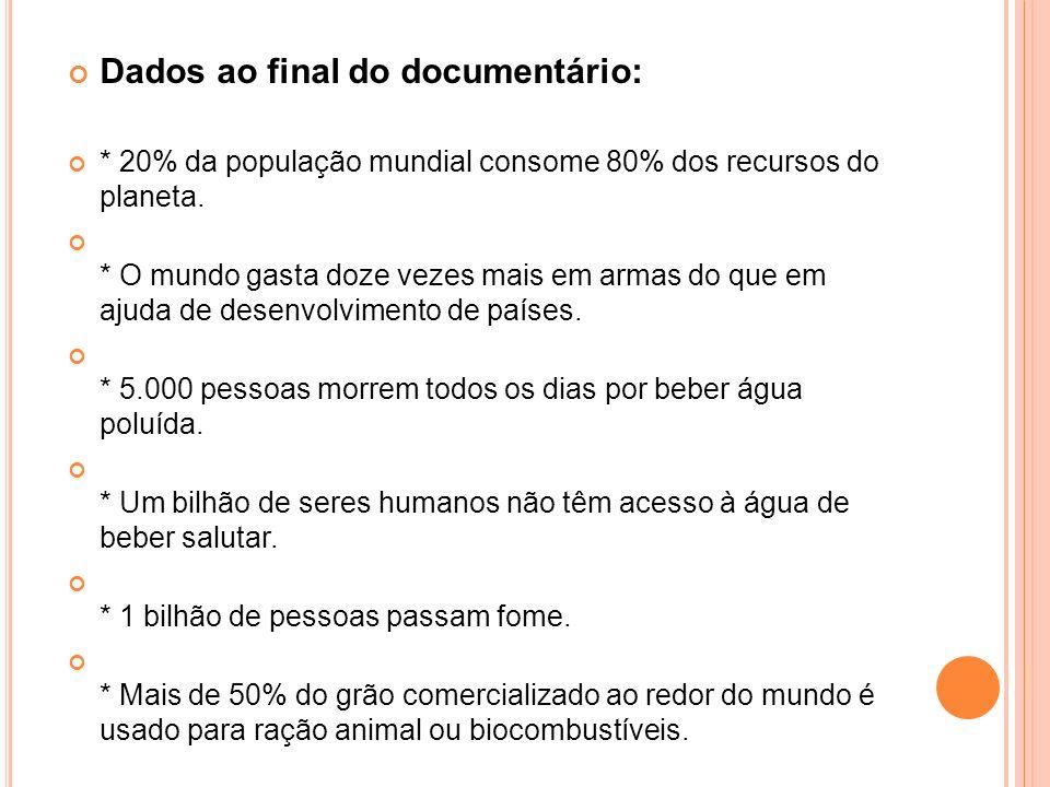 Dados ao final do documentário: * 20% da população mundial consome 80% dos recursos do planeta. * O mundo gasta doze vezes mais em armas do que em aju