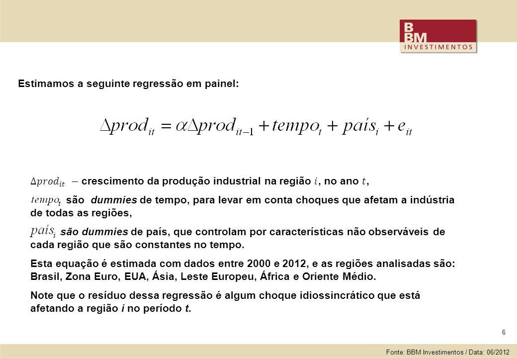 6 Estimamos a seguinte regressão em painel: Fonte: BBM Investimentos / Data: 06/2012