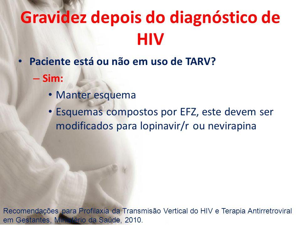Gravidez depois do diagnóstico de HIV Paciente está ou não em uso de TARV? – Sim: Manter esquema Esquemas compostos por EFZ, este devem ser modificado