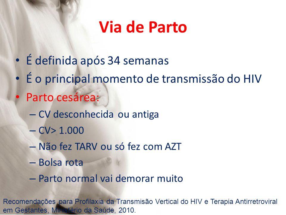Via de Parto É definida após 34 semanas É o principal momento de transmissão do HIV Parto cesárea: – CV desconhecida ou antiga – CV> 1.000 – Não fez T