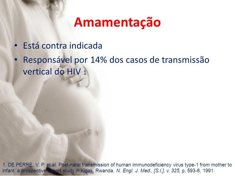 Amamentação Está contra indicada Responsável por 14% dos casos de transmissão vertical do HIV 1 1. DE PERRE, V. P. et al. Post-natal transmission of h