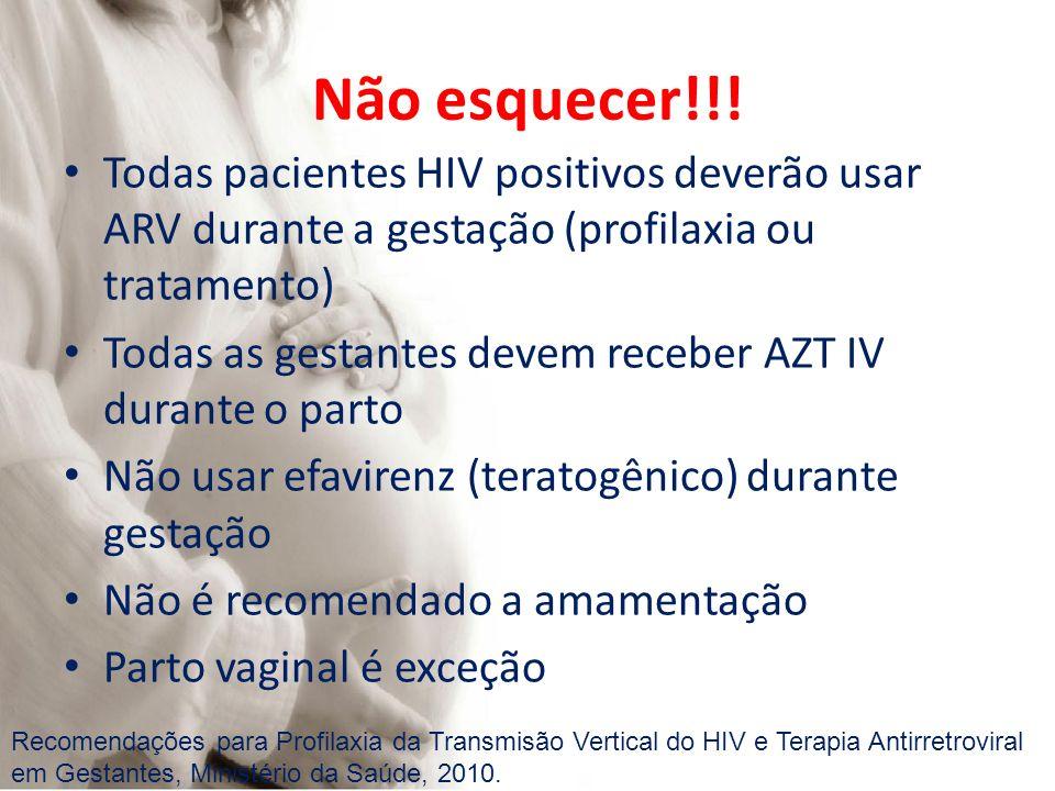 Não esquecer!!! Todas pacientes HIV positivos deverão usar ARV durante a gestação (profilaxia ou tratamento) Todas as gestantes devem receber AZT IV d