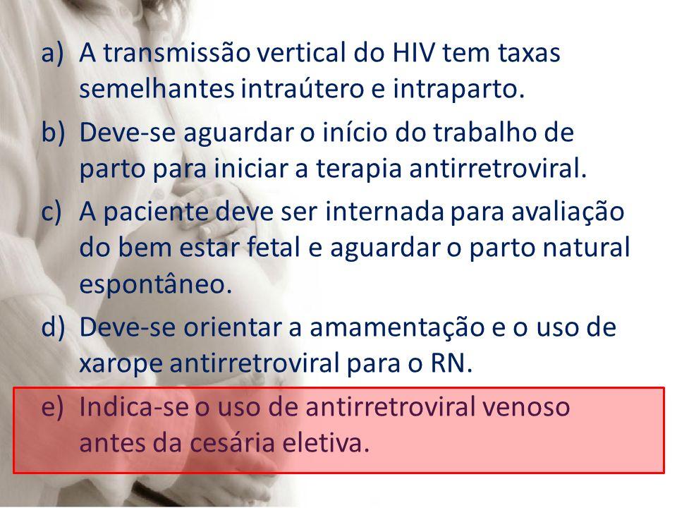 a)A transmissão vertical do HIV tem taxas semelhantes intraútero e intraparto. b)Deve-se aguardar o início do trabalho de parto para iniciar a terapia