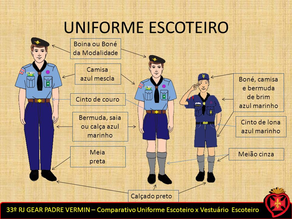UNIFORME ESCOTEIRO Boina ou Boné da Modalidade Camisa azul mescla Cinto de couro Bermuda, saia ou calça azul marinho Meia preta Calçado preto Cinto de