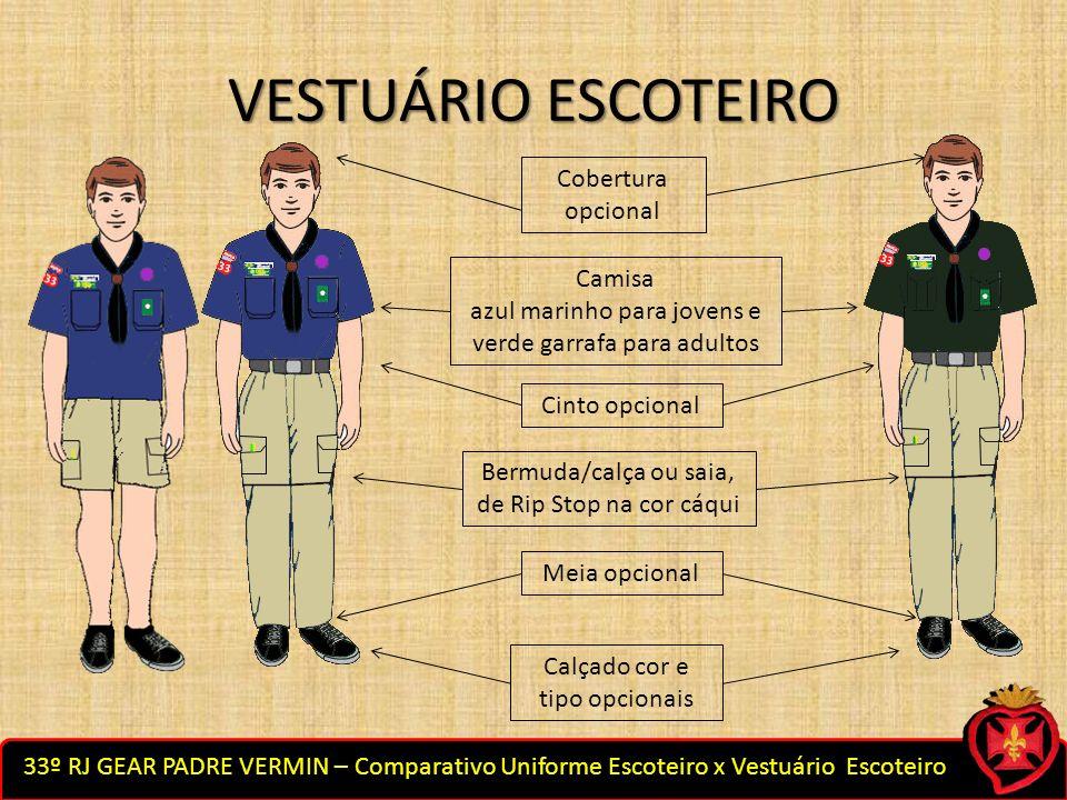 VESTUÁRIO ESCOTEIRO Cobertura opcional Camisa azul marinho para jovens e verde garrafa para adultos Cinto opcional Bermuda/calça ou saia, de Rip Stop
