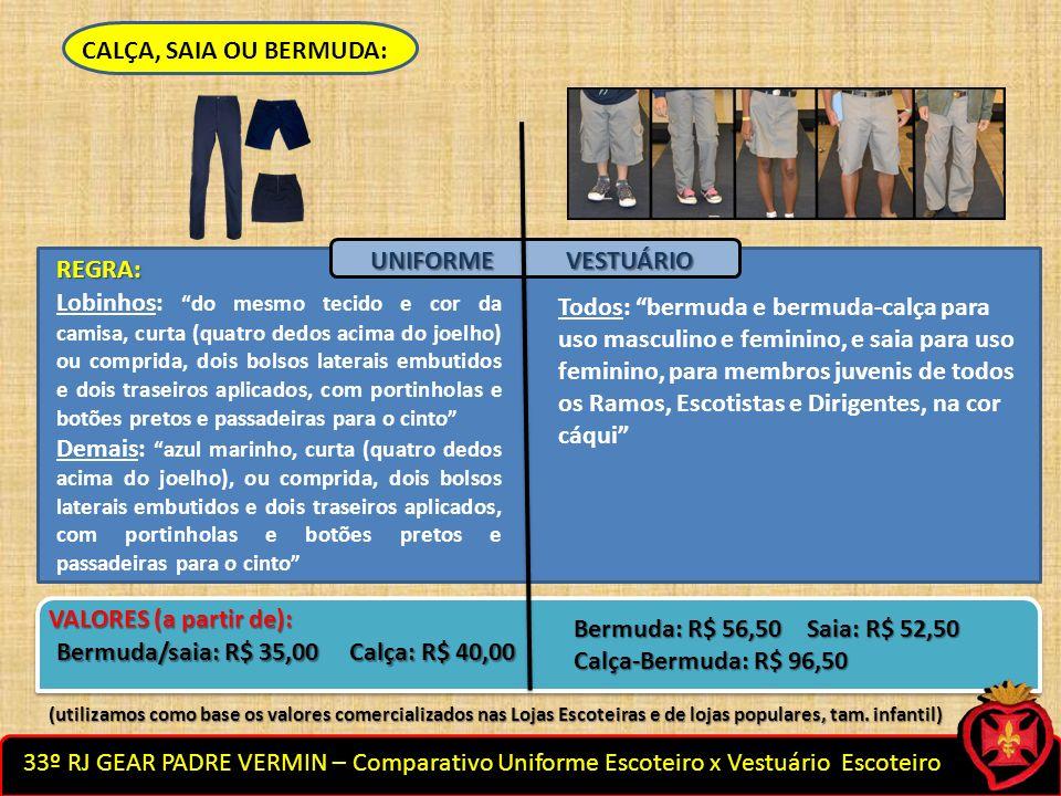 33º RJ GEAR PADRE VERMIN – Comparativo Uniforme Escoteiro x Vestuário Escoteiro CALÇA, SAIA OU BERMUDA: Todos: bermuda e bermuda-calça para uso mascul