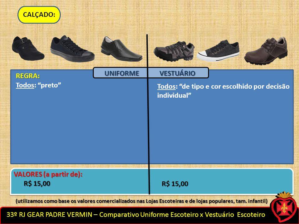 33º RJ GEAR PADRE VERMIN – Comparativo Uniforme Escoteiro x Vestuário Escoteiro CALÇADO: Todos: de tipo e cor escolhido por decisão individual Todos: