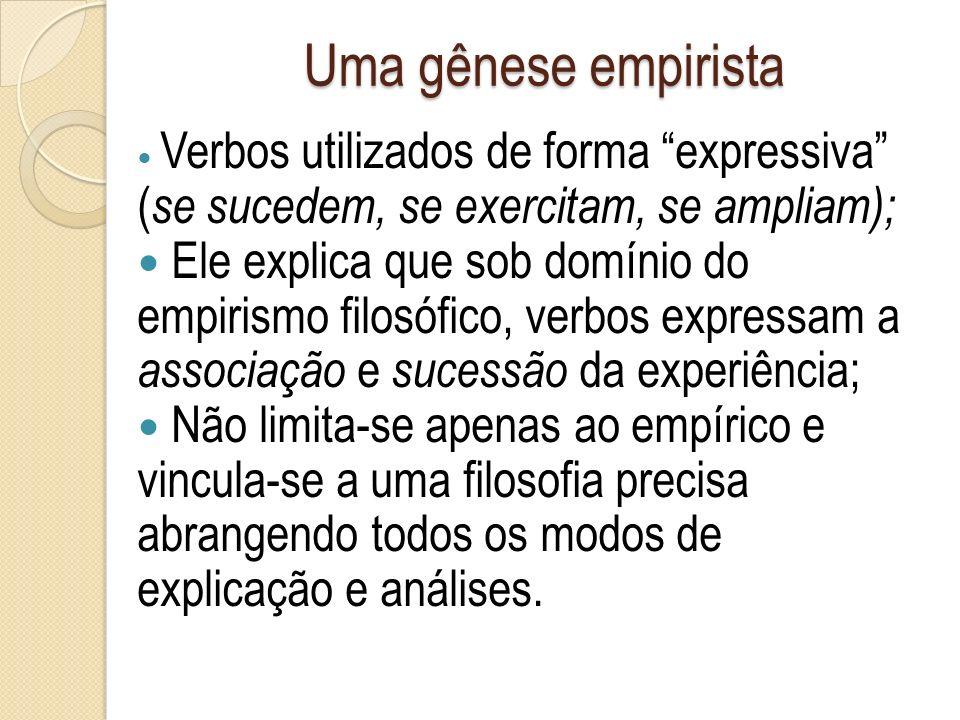 Uma gênese empirista Verbos utilizados de forma expressiva ( se sucedem, se exercitam, se ampliam); Ele explica que sob domínio do empirismo filosófic