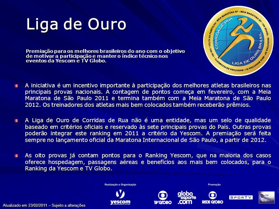 Liga de Ouro Eventos que fazem parte da Liga de Ouro 2011 FevereiroJunhoAgosto OutubroNovembroDezembro Junho Fevereiro Atualizado em 23/02/2011 – Sujeito a alterações