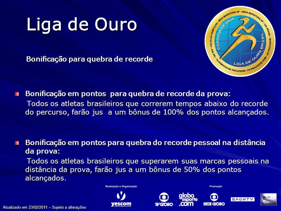 Liga de Ouro Bonificação para quebra de recorde Bonificação em pontos para quebra de recorde da prova: Todos os atletas brasileiros que correrem tempo