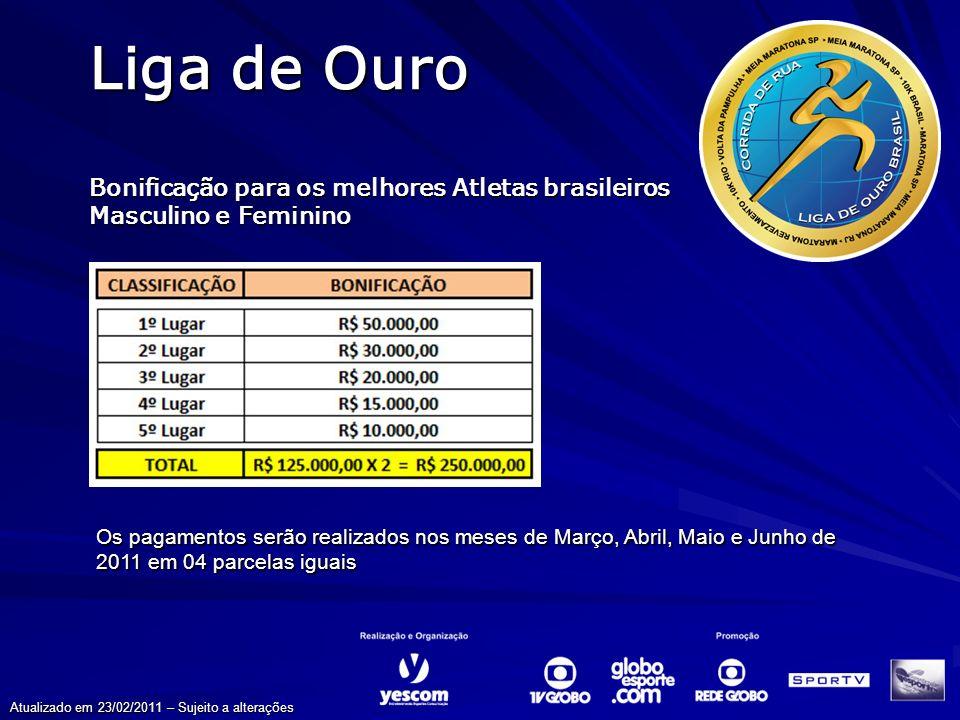Os pagamentos serão realizados nos meses de Março, Abril, Maio e Junho de 2011 em 04 parcelas iguais Liga de Ouro Bonificação para os melhores Atletas