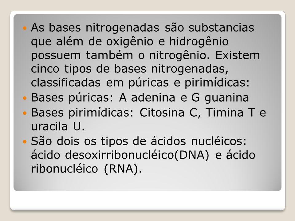 As bases nitrogenadas são substancias que além de oxigênio e hidrogênio possuem também o nitrogênio.