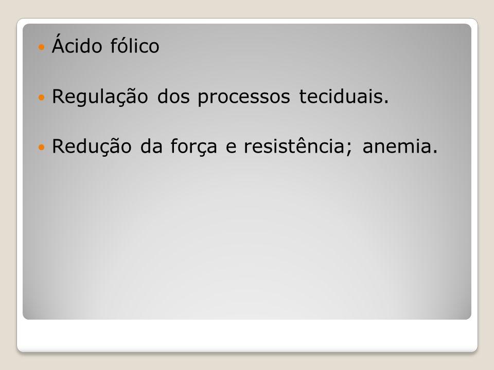Ácido fólico Regulação dos processos teciduais. Redução da força e resistência; anemia.