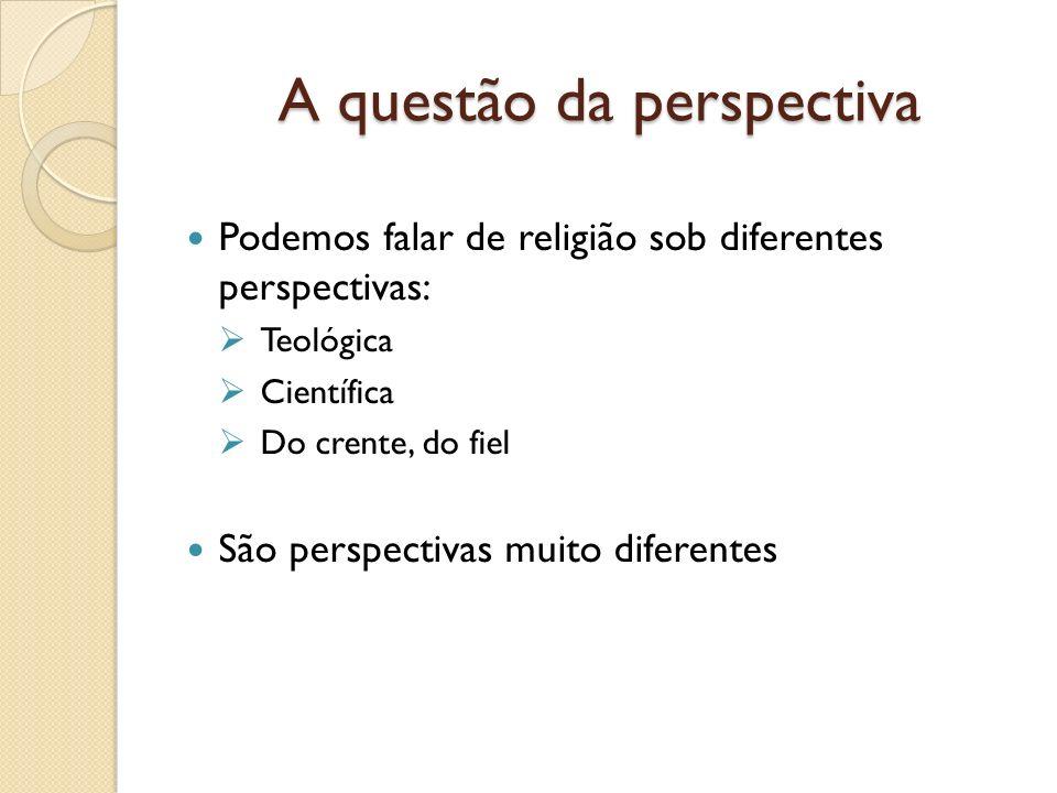 A questão da perspectiva Podemos falar de religião sob diferentes perspectivas: Teológica Científica Do crente, do fiel São perspectivas muito diferen