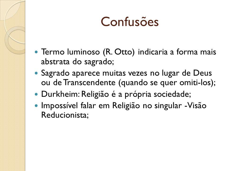 Confusões Termo luminoso (R. Otto) indicaria a forma mais abstrata do sagrado; Sagrado aparece muitas vezes no lugar de Deus ou de Transcendente (quan