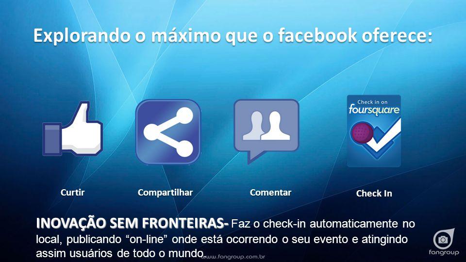 Simulação: Seu evento= 100 clientes convidados x 1 foto/cliente x média de 300 amigos = 30.000 visualizações Pesquisa*simulação Usuários Facebook (potencial) Acesso o dia todo20%5.4601.764.376 Acesso mais de uma vez por dia57%15.5615.028.472 Acessam o Facebook de dispositivos móveis23%6.2792.029.032 Interação57%15.5615.028.472 Discussão de assuntos sociais56%15.2884.940.253 Possível contato profissional56%15.2884.940.253 Compartilhamento de conteúdo53%14.4694.675.596 Comentários sobre compras65%17.7455.734.222 Política- influencia Redes Sociais na opinião56%15.2884.940.253 Gostam de ser marcados em fotos48%13.1044.234.502 Fonte: % embasados na pesquisa: olhardigital.uol.com.br