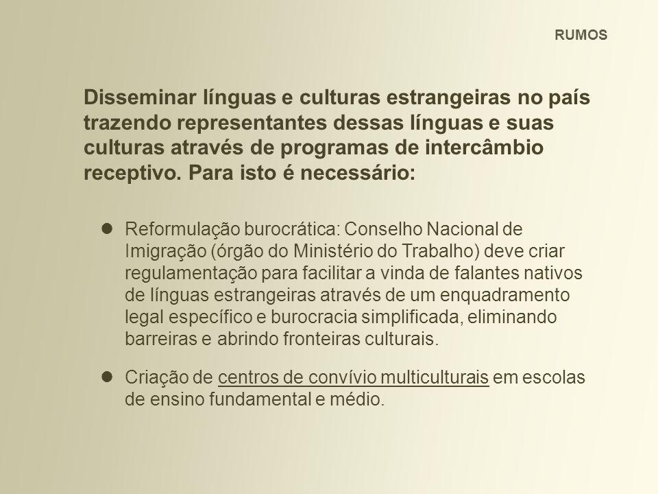 Disseminar línguas e culturas estrangeiras no país trazendo representantes dessas línguas e suas culturas através de programas de intercâmbio receptivo.