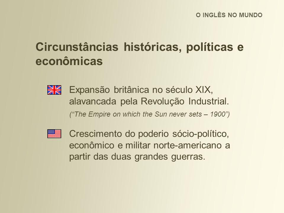 O INGLÊS NO MUNDO Circunstâncias históricas, políticas e econômicas Expansão britânica no século XIX, alavancada pela Revolução Industrial.