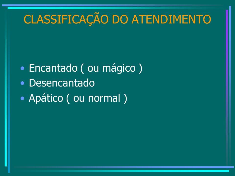 CLASSIFICAÇÃO DO ATENDIMENTO Encantado ( ou mágico ) Desencantado Apático ( ou normal )