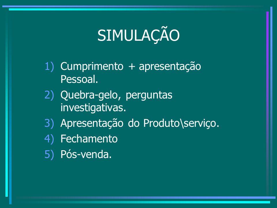 SIMULAÇÃO 1)Cumprimento + apresentação Pessoal. 2)Quebra-gelo, perguntas investigativas. 3)Apresentação do Produto\serviço. 4)Fechamento 5)Pós-venda.