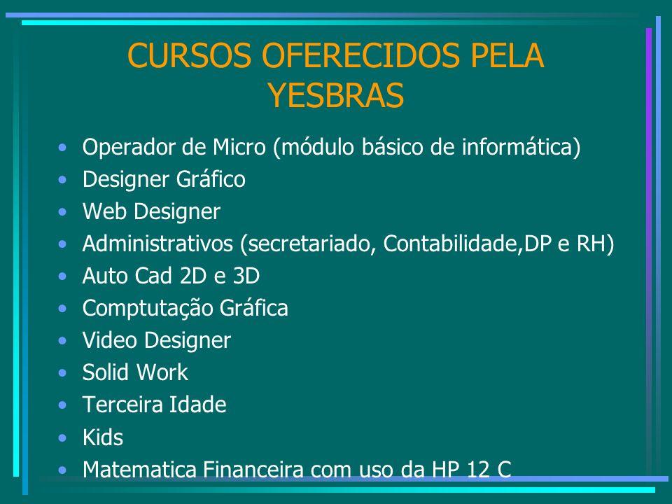 CURSOS OFERECIDOS PELA YESBRAS Operador de Micro (módulo básico de informática) Designer Gráfico Web Designer Administrativos (secretariado, Contabili