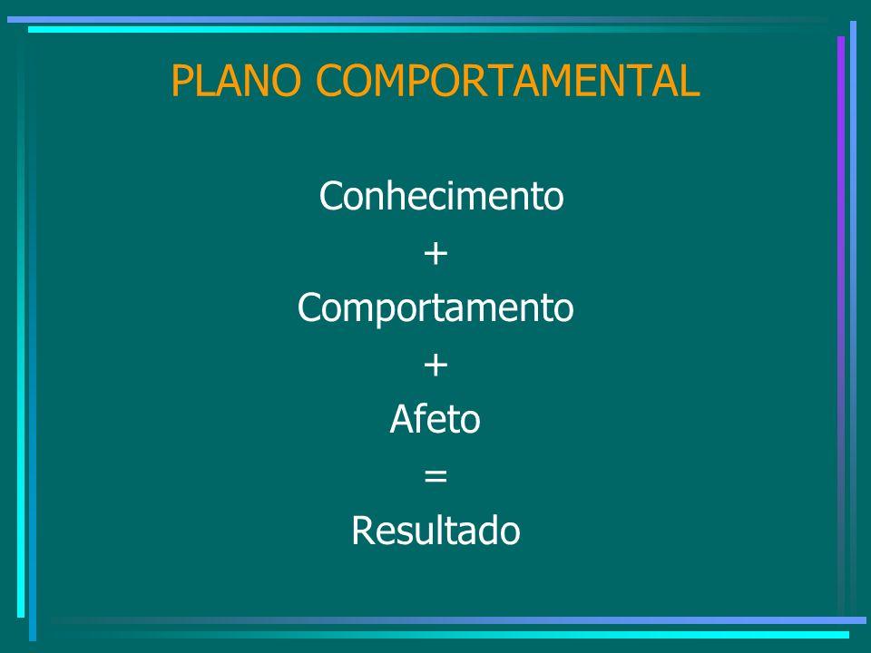PLANO COMPORTAMENTAL Conhecimento + Comportamento + Afeto = Resultado