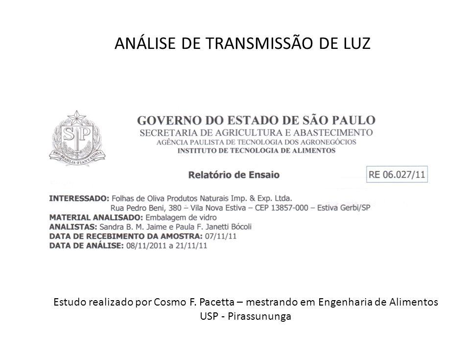 ANÁLISE DE TRANSMISSÃO DE LUZ Estudo realizado por Cosmo F. Pacetta – mestrando em Engenharia de Alimentos USP - Pirassununga