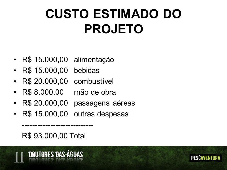 CUSTO ESTIMADO DO PROJETO R$ 15.000,00 alimentação R$ 15.000,00 bebidas R$ 20.000,00 combustível R$ 8.000,00 mão de obra R$ 20.000,00 passagens aéreas