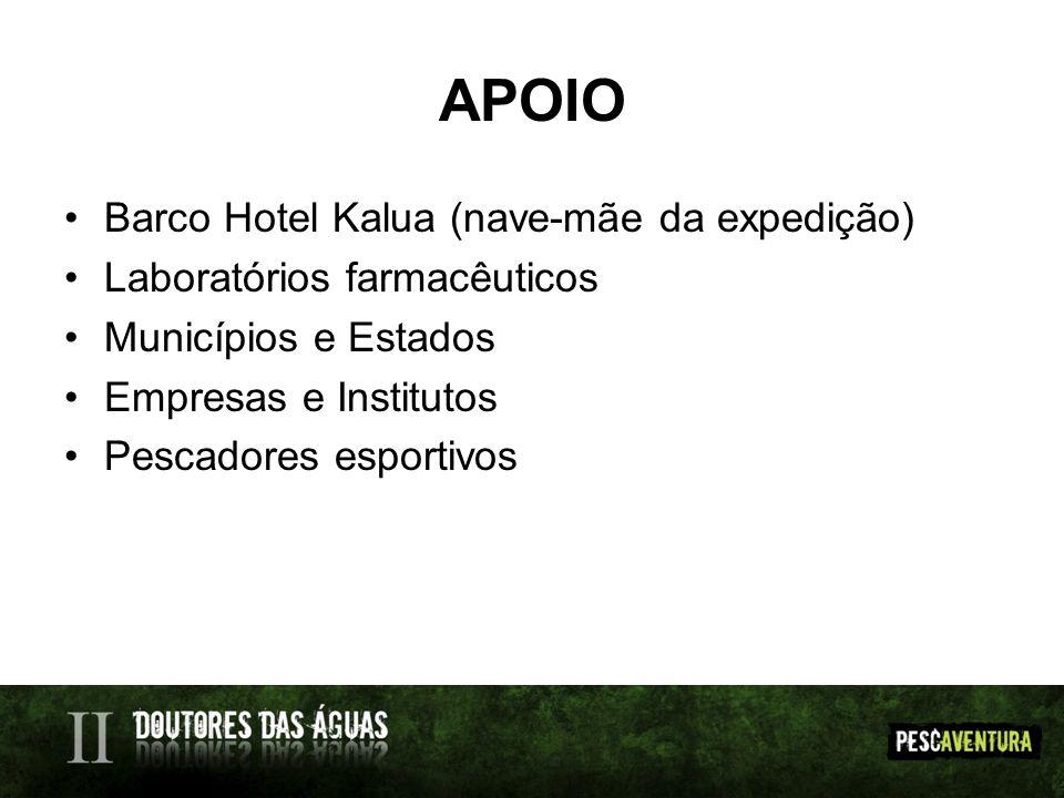 APOIO Barco Hotel Kalua (nave-mãe da expedição) Laboratórios farmacêuticos Municípios e Estados Empresas e Institutos Pescadores esportivos