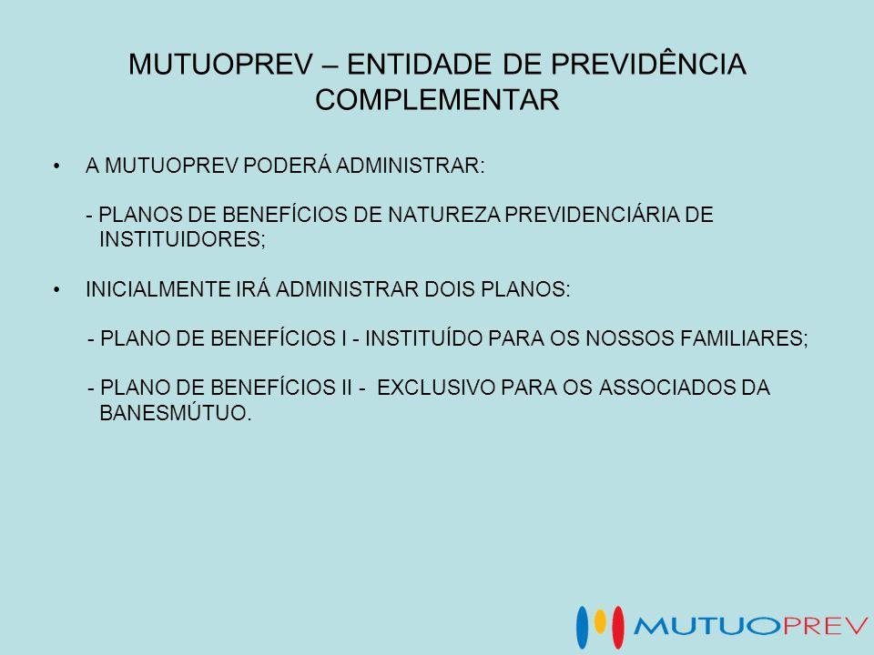 MUTUOPREV – ENTIDADE DE PREVIDÊNCIA COMPLEMENTAR A MUTUOPREV PODERÁ ADMINISTRAR: - PLANOS DE BENEFÍCIOS DE NATUREZA PREVIDENCIÁRIA DE INSTITUIDORES; I