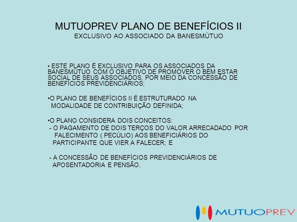 MUTUOPREV PLANO DE BENEFÍCIOS II EXCLUSIVO AO ASSOCIADO DA BANESMÚTUO ESTE PLANO É EXCLUSIVO PARA OS ASSOCIADOS DA BANESMÚTUO COM O OBJETIVO DE PROMOV