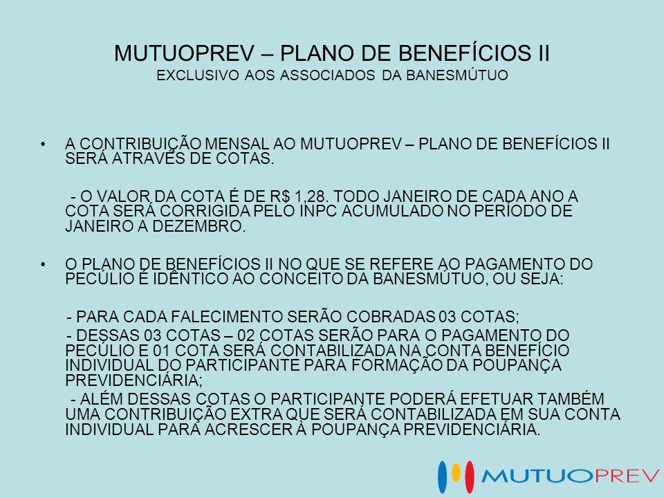 MUTUOPREV – PLANO DE BENEFÍCIOS II EXCLUSIVO AOS ASSOCIADOS DA BANESMÚTUO A CONTRIBUIÇÃO MENSAL AO MUTUOPREV – PLANO DE BENEFÍCIOS II SERÁ ATRAVÉS DE