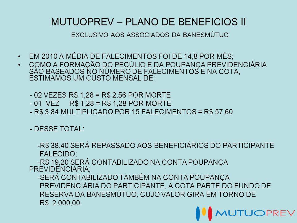 MUTUOPREV – PLANO DE BENEFICIOS II EXCLUSIVO AOS ASSOCIADOS DA BANESMÚTUO EM 2010 A MÉDIA DE FALECIMENTOS FOI DE 14,8 POR MÊS; COMO A FORMAÇÃO DO PECÚ
