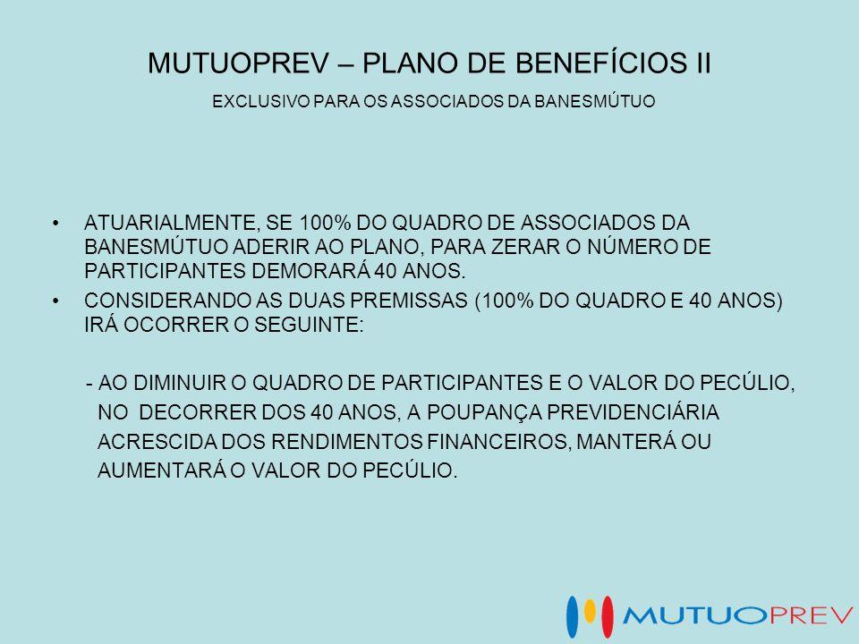MUTUOPREV – PLANO DE BENEFÍCIOS II EXCLUSIVO PARA OS ASSOCIADOS DA BANESMÚTUO ATUARIALMENTE, SE 100% DO QUADRO DE ASSOCIADOS DA BANESMÚTUO ADERIR AO P