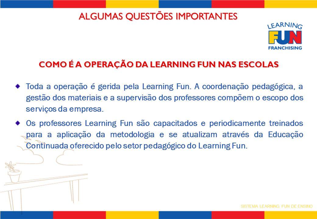 SISTEMA LEARNING FUN DE ENSINO ALGUMAS QUESTÕES IMPORTANTES COMO É A OPERAÇÃO DA LEARNING FUN NAS ESCOLAS Toda a operação é gerida pela Learning Fun.