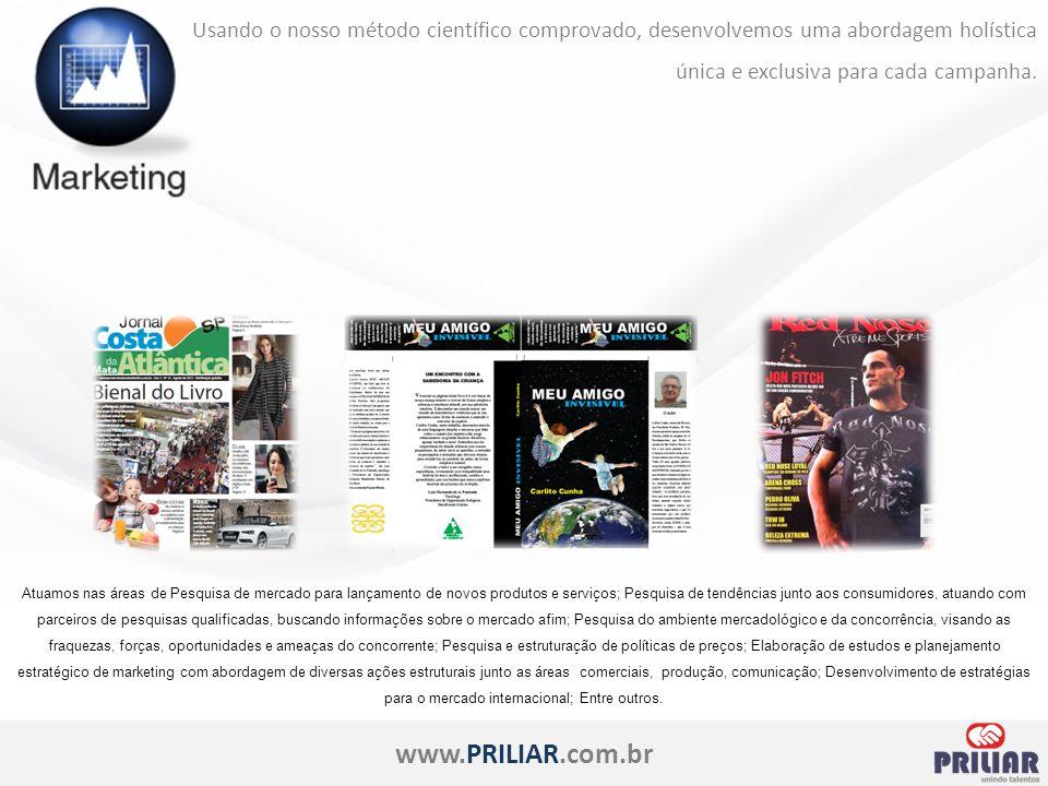 www.PRILIAR.com.br Usando o nosso método científico comprovado, desenvolvemos uma abordagem holística única e exclusiva para cada campanha.