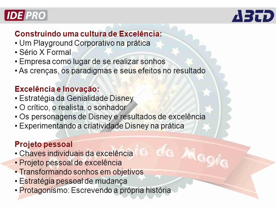 Construindo uma cultura de Excelência: Um Playground Corporativo na prática Sério X Formal Empresa como lugar de se realizar sonhos As crenças, os paradigmas e seus efeitos no resultado Excelência e Inovação: Estratégia da Genialidade Disney O crítico, o realista, o sonhador Os personagens de Disney e resultados de excelência Experimentando a criatividade Disney na prática Projeto pessoal Chaves individuais da excelência Projeto pessoal de excelência Transformando sonhos em objetivos Estratégia pessoal de mudança Protagonismo: Escrevendo a própria história