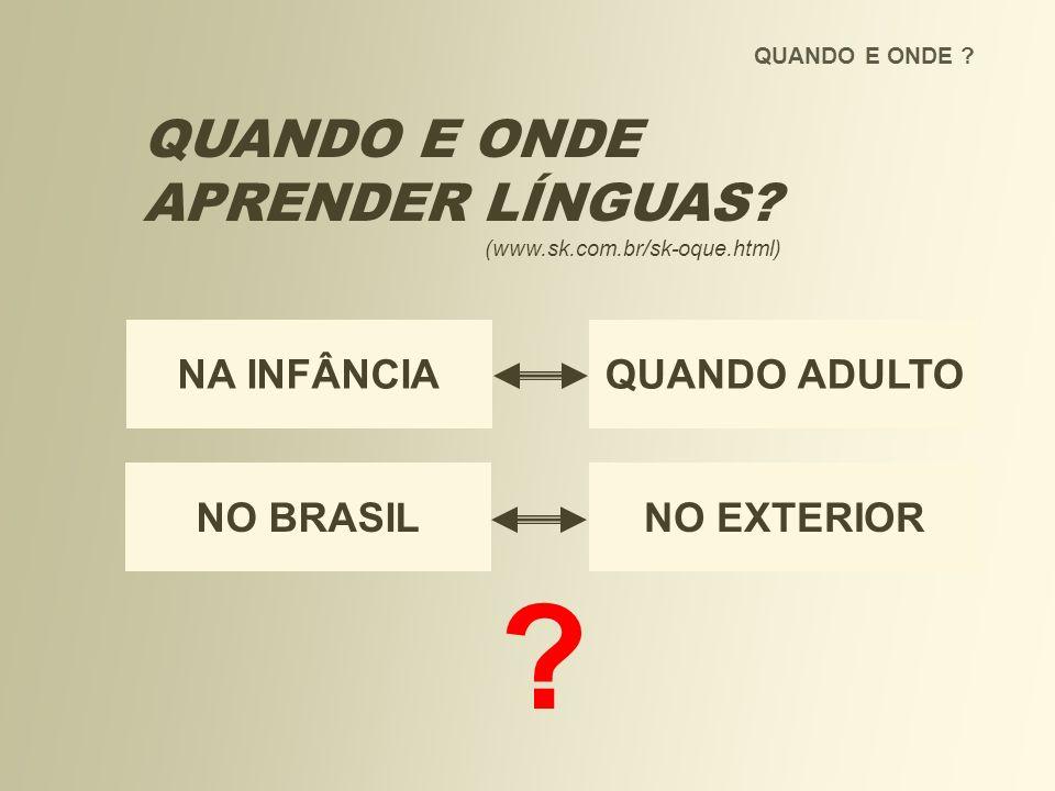 QUANDO E ONDE ? QUANDO E ONDE APRENDER LÍNGUAS? (www.sk.com.br/sk-oque.html) ? NO BRASILNO EXTERIOR NA INFÂNCIAQUANDO ADULTO