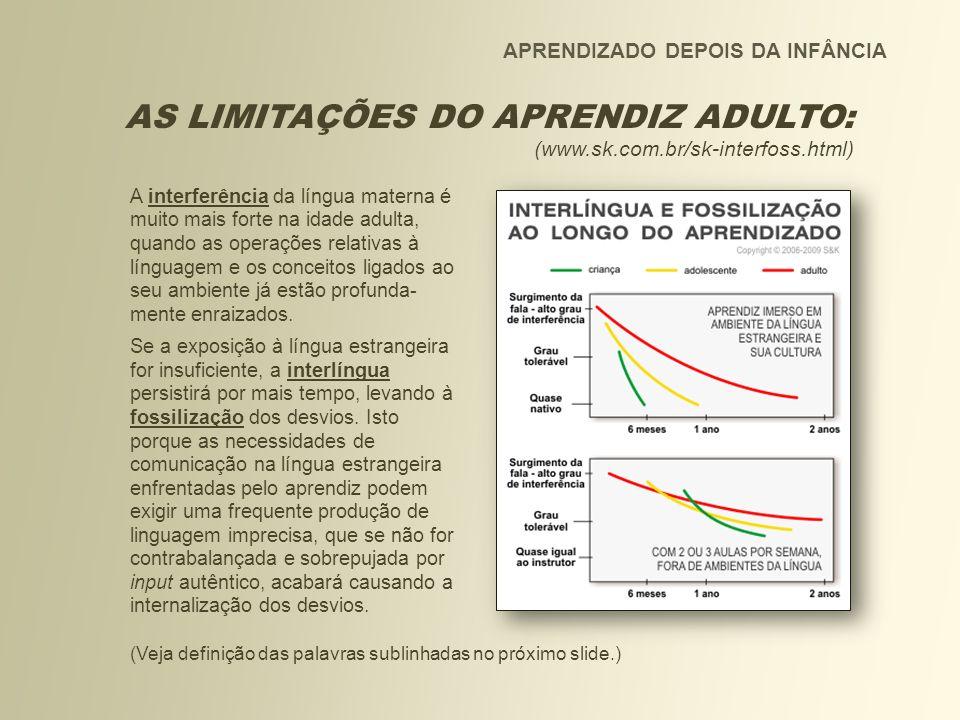 APRENDIZADO DEPOIS DA INFÂNCIA AS LIMITAÇÕES DO APRENDIZ ADULTO: (www.sk.com.br/sk-interfoss.html) A interferência da língua materna é muito mais fort