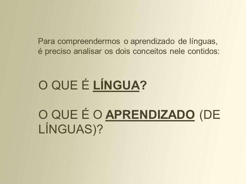 O QUE É LÍNGUA? O QUE É O APRENDIZADO (DE LÍNGUAS)? Para compreendermos o aprendizado de línguas, é preciso analisar os dois conceitos nele contidos: